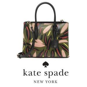 Kate Spade New York Green Floral Leather Bag NWT